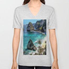 Turquoise Sea on Diamond Beach, Penida Island, Bali Unisex V-Neck