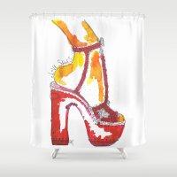 shoe Shower Curtains featuring Shoe Love by RebeccaMacfarlandArt