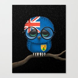 Baby Owl with Glasses and Turks and Caicos Flag Canvas Print