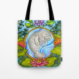 Manatee and Water Lilies Tote Bag