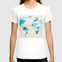 Ocean World Map Sea and Sand T-shirt