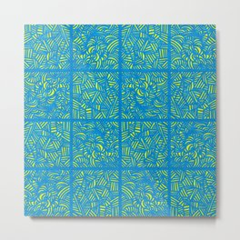 Mess Pattern Blue & Yellow Metal Print
