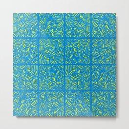 Mess Pattern Blue & Yellow Metal Print