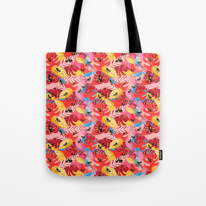 Beautiful illustration of a jungle with the frogs Tote Bag
