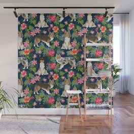 Sheltie shetland sheepdog hawaii floral hibiscus flowers pattern dog breed pet friendly Wall Mural