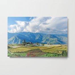 Farm in Bhutan eastern mountains Metal Print
