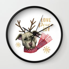 Christmas Reindeer Pit Bull Dog Watercolor Illustration Wall Clock