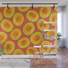 Melon slices watercolor pattern Wall Mural