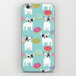 French Bulldog cute mint pastel cute donuts sweet treat doughnuts junk food dessert foods and dogs iPhone Skin
