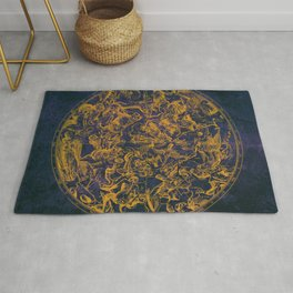 Vintage Constellations & Astrological Signs   Purple Galaxy Rug