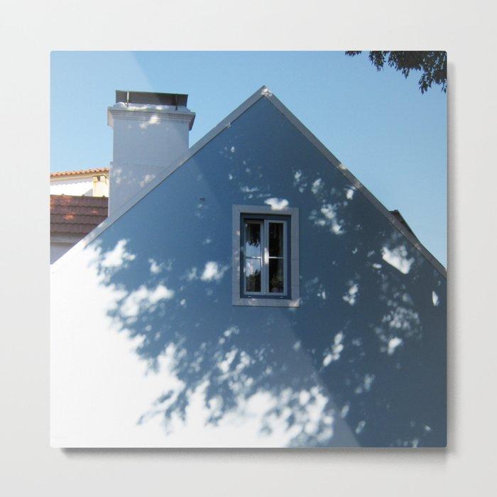 Tree shadow on a house facade Metal Print