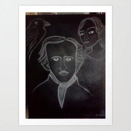 Poe, Virginia and the Raven Art Print