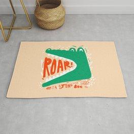 Cute wild crocodile roar hand drawn vintage illustration on pastel background Rug