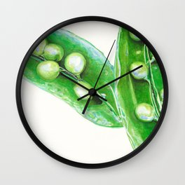 Watercolor Peas Wall Clock