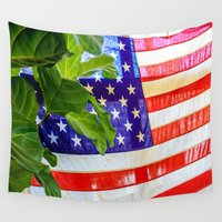 flag Wall Tapestries featuring Flag by Jodi Kassowitz Photography