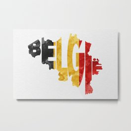Belgium (België) Typographic World Map / Belgium Typograpy Flag Map Art Metal Print