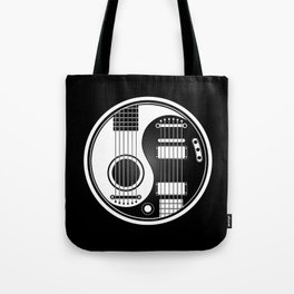 White and Black Acoustic Electric Yin Yang Guitars Tote Bag