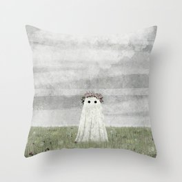 There's A Ghost in the Summer Meadow Throw Pillow