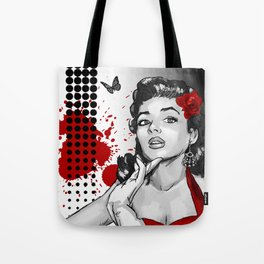 Trash Polka Retro Pinup Girl & Butterfly Tote Bag