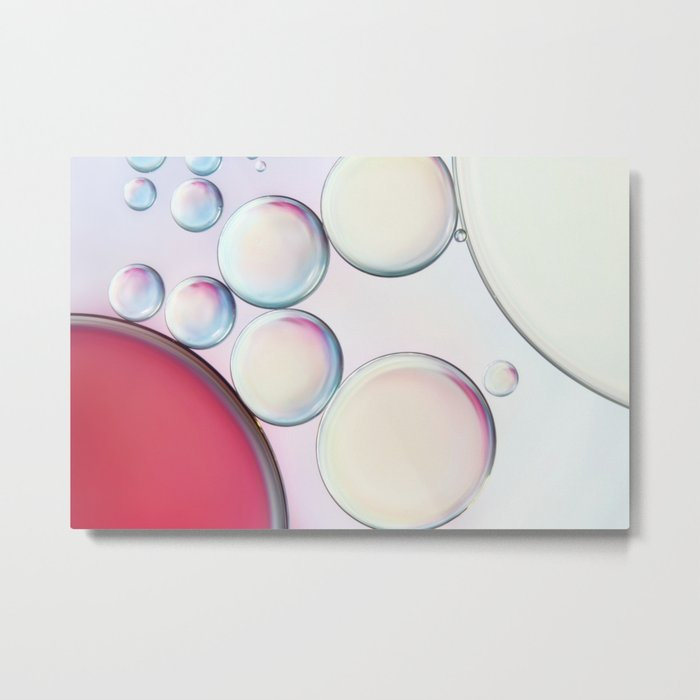 Bubble Abstract with Ruby Red Metal Print