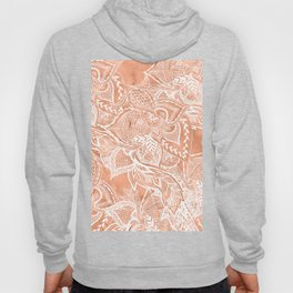 Modern tan copper terracotta watercolor floral white boho hand drawn pattern Hoody