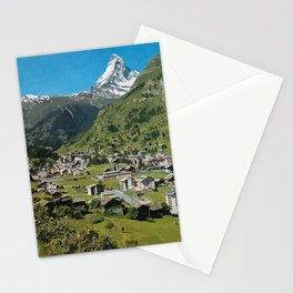 Retro Swiss travel Zermatt and Mount Matterhorn  Stationery Cards