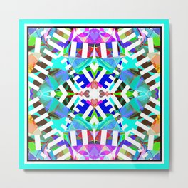 Abstract Iris - Aqua Metal Print