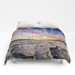 Stopping Time : Colorful Sky Landscape Comforters