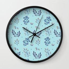 Blue christmas leaves fall winter Wall Clock