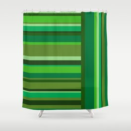 Vertical and Horizontal Stripes Green Shower Curtain