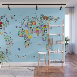 Animal Map of the World Wall Mural