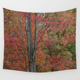 Fall Tree - Red - Square Wall Tapestry