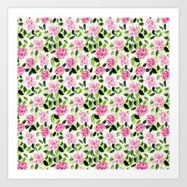 Pink and Green Garden Floral Pattern Art Print