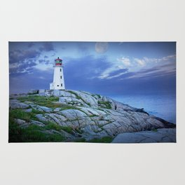 Lighthouse at Peggy's Cove in the Moonlight Rug