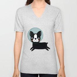 Boston Terrier In Space Unisex V-Neck