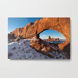 Turret Arch in Snow / Moab, Utah Metal Print