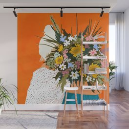 Happiness Is To Hold Flowers In Both Hands #illustration Wall Mural