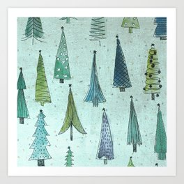 MidCentury Christmas Trees 1.0 Art Print