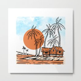 Tropical Vibes, Nature illustration landscape hut, palm trees on a cloudy blue sky, Rural summer Metal Print