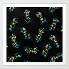 Iridescent pineapples Art Print