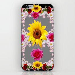 RED ROSES SUNFLOWERS & WHITE DAISIES BLACK VIGNETTE iPhone Skin
