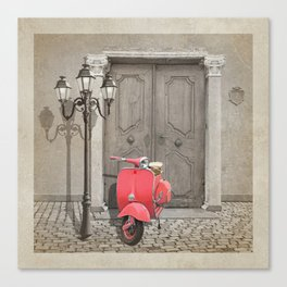 Nostalgia pink scooter Canvas Print
