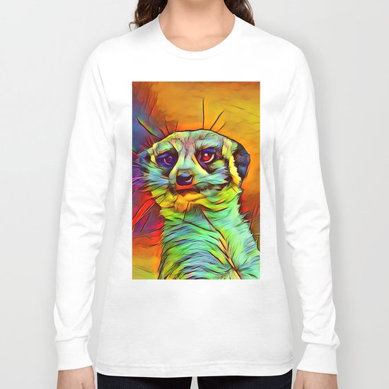 Animal ArtStudio -funky meerkat Long Sleeve T-shirt