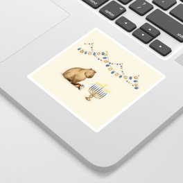 Capy Hanukkah - Capybara and Menorah Sticker