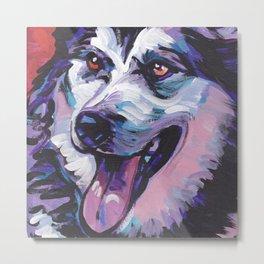Fun Alaskan Malamute Dog Portrait bright colorful Pop Art by LEA Metal Print
