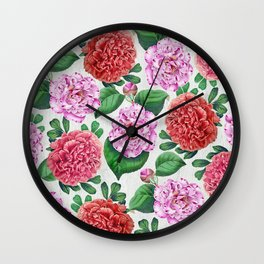 Camellia and Peonia pattern Wall Clock