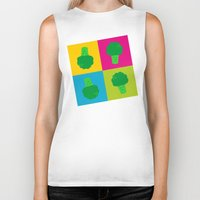 popart Biker Tanks featuring Popart Broccoli by XOOXOO