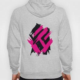 Vibrant Pink Black Brushstroke Pattern Hoody