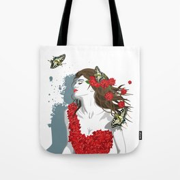 Woman in Dress from Gibiscus Flowers and Butterflies Tote Bag
