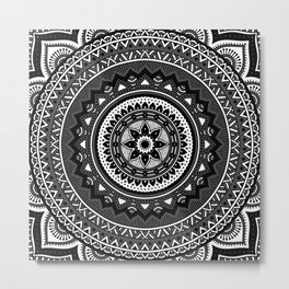 Black and White Mandala Metal Print